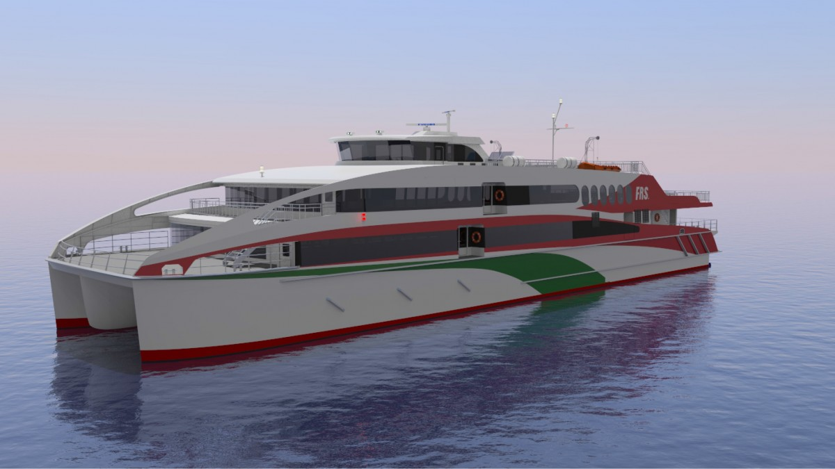 Render of the 56m high speed catamaran for FRS group