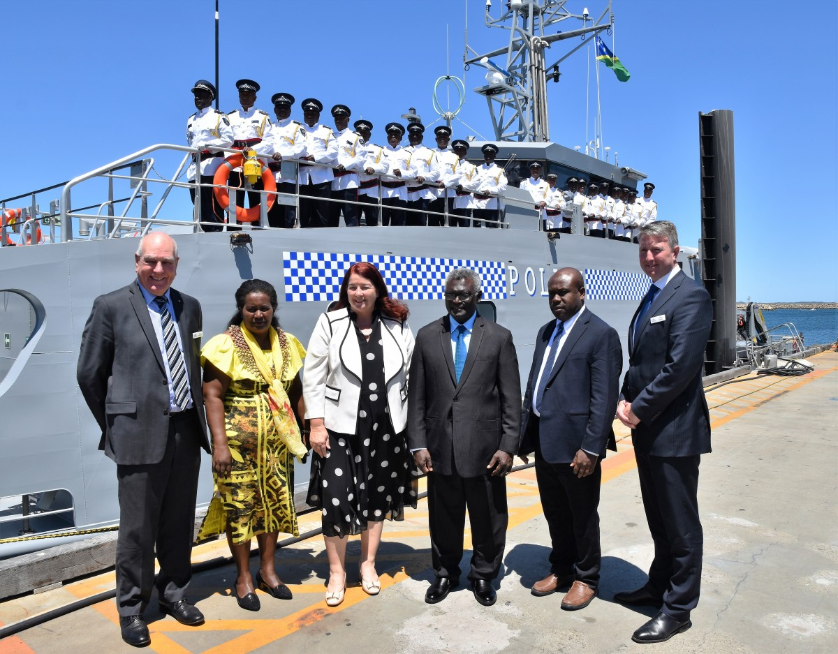 Solomon Islands Prime Minister Manasseh Sogavare and Mrs Sogavare, Australian Defence Industry Minister The Hon. Melissa Price MP, Mr Anthony Veke, Solomon Islands Minister of Police, National Security and Correctional Services with Austal Chairman John Rothwell and Chief Operating Officer Patrick Gregg at the Handover Ceremony for RSIPV Gizo held at Austal Australia. (Image: Austal)