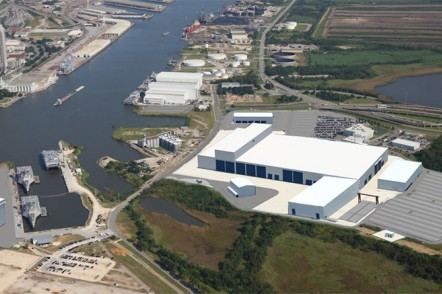 Render of expanded Austal USA shipyard with steel production line