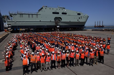 Austal Australia Staff with the Royal Navy of Oman's High Speed Support Vessel in Henderson, WA