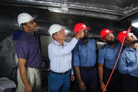 Austal Australia staff training crew on Trinidad and Tobago patrol boat