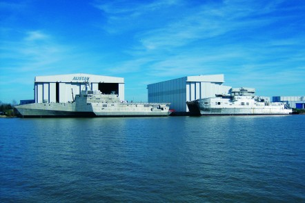 One Littoral Combat Ship and one Expeditionary Fast Transport under construction at Austal USA's facility in Mobile, Alabama